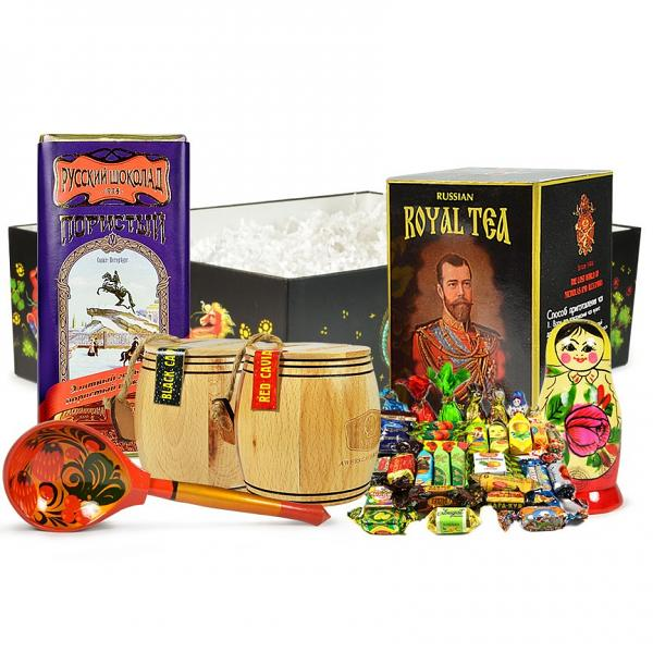 """Russian Traditional Gourmet Gift Set with Black & Red Caviar """"Barrels"""" (large box)"""
