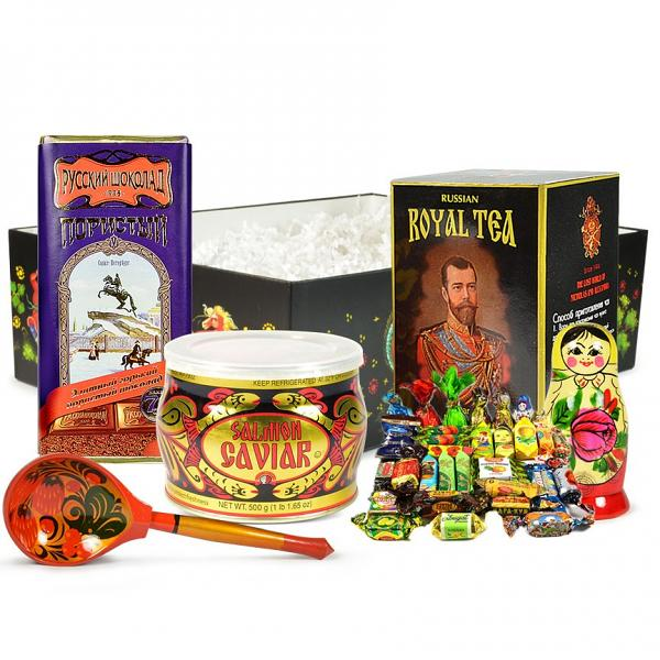 """Russian Traditional Gourmet Gift Set with Red Caviar """"Russian Exclusive"""" (large box)"""