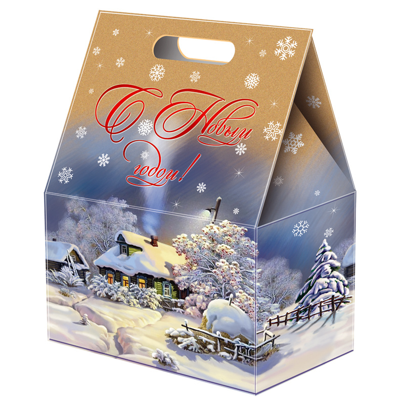 Assorted chocolate and caramel candies in a New Year cardboard box «Winter Evening», 3 lbs