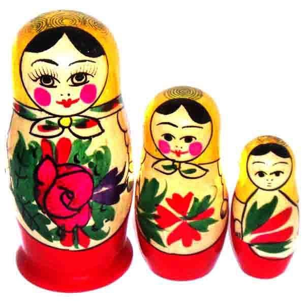 3 Nested Matreshka Dolls, Classic Design Pink Flower 75mm/3""