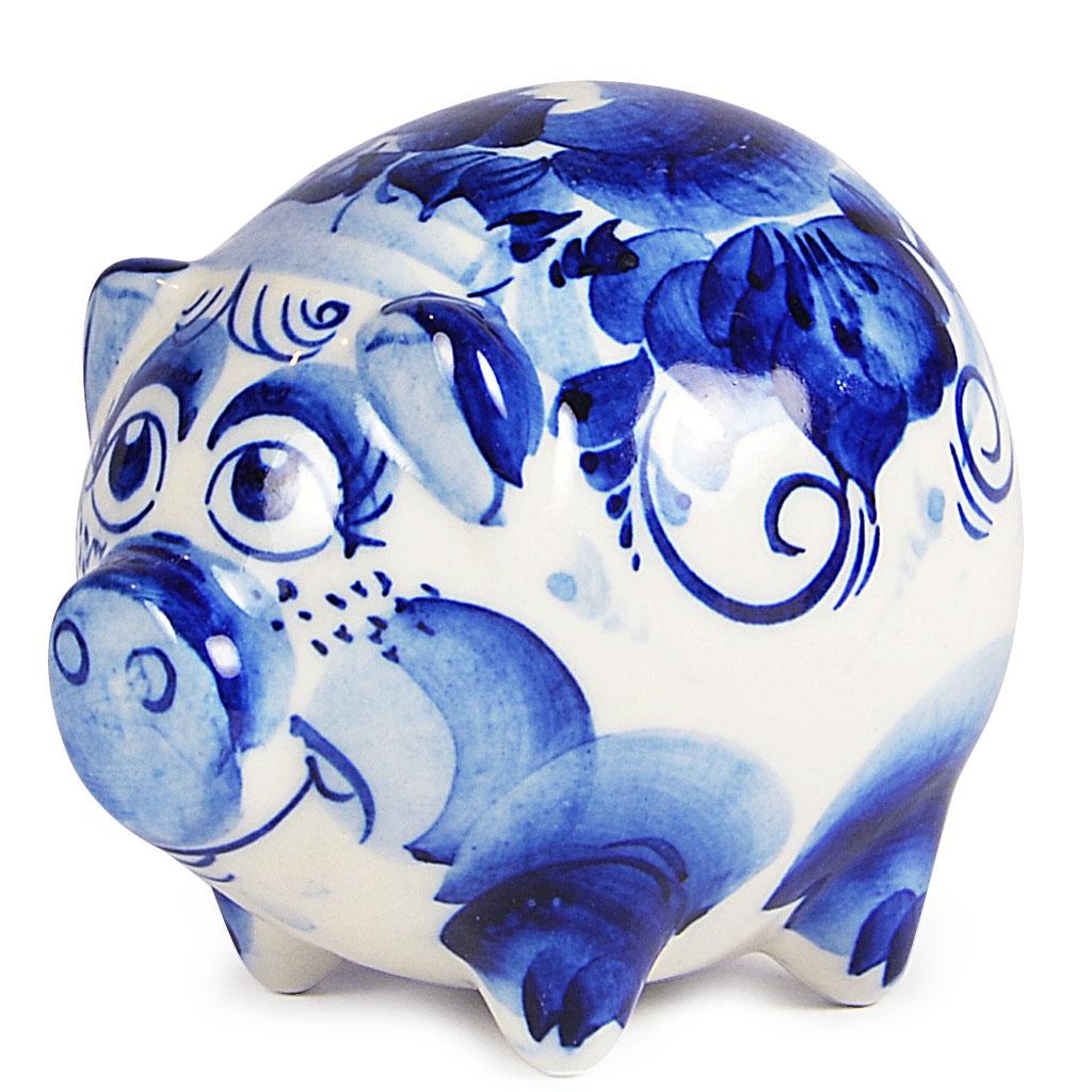 "Symbol of the Year 2019 Exclusive Round Piggy Porcelain Gzhel Figurine, 4.5"" x 3"" x 3.25"" (9 x 7 x 8.5 cm)"