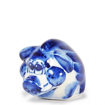 "Symbol of the Year 2019 Exclusive Small Boar Porcelain Gzhel Figurine, 2.25"" x 1"" x 1"" (5 x 3 x 3 cm)"