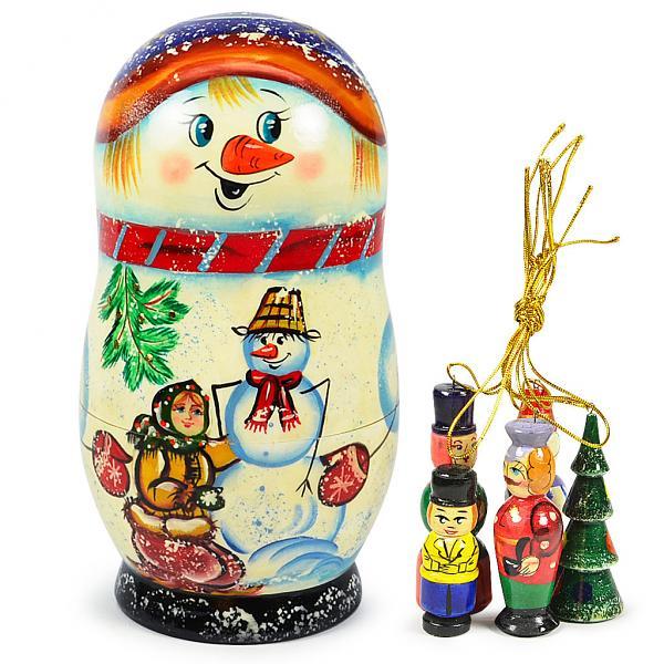 "Matryoshka Snowman Nesting Doll ""Korobeynik"" with 5 Ornaments, 6.5"""