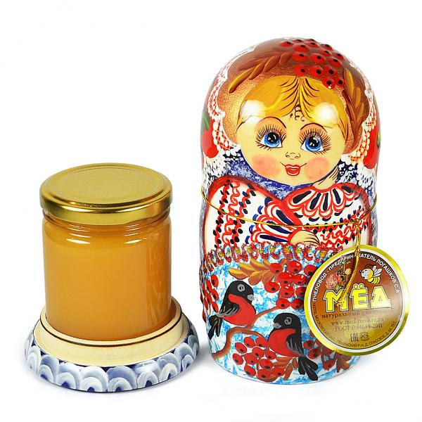 "Decorative Handmade Wooden Matryoshka ""Winter Birds"" w/ Natural Organic Flower Honey, 10.14 oz / 300 ml"