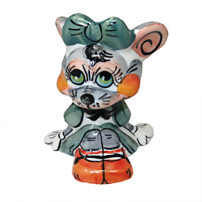 """Symbol of the Year 2020 Exclusive Gzhel Souvenir Rat with green bow Porcelain Hand painted, 3.1"""""""