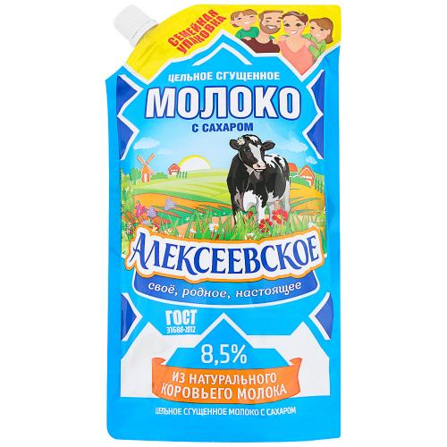 Condensed Milk with Sugar 8.5% Doy-Pak, Alekseevskoe, 650 g/ 1.43 lb
