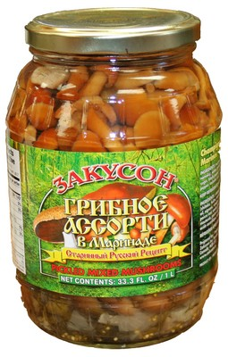Marinated Mushroom Mix Zakuson, 33.81 oz/ 1 liter