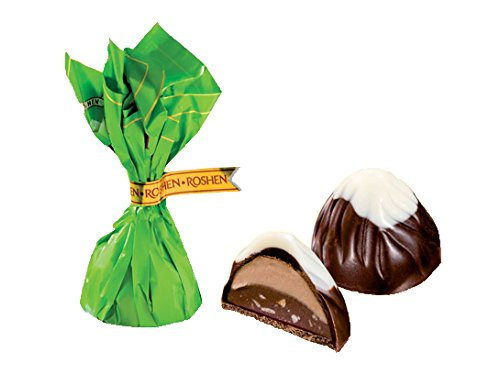 "Candy ""Mont Blanc Green"" with Praline Chopped Hazelnuts And Cream Filling, by Roshen  0.5 lb / 0.22 kg"