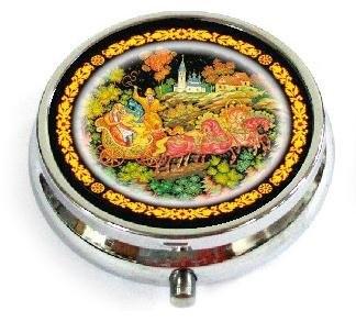 """Souvenir Case for Tablets/ Pills """"Palekh. Troika""""/30CHE-34-280"""