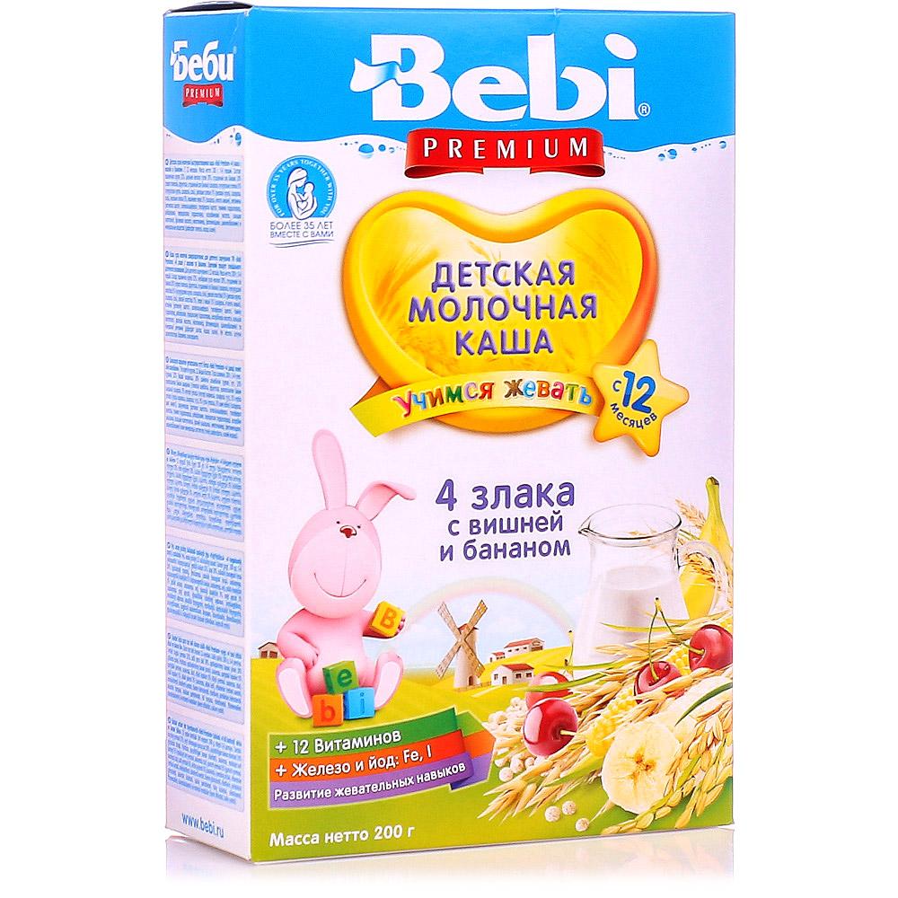 Premium Milk Porridge 4 Cereals w/ Cherry & Banana 12 +, Bebi, 200 g / 0.44 lb