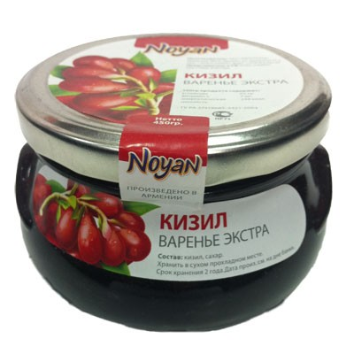 Natural Organic Noyan Armenian Cornelian Cherry Preserve, 1 lb/ 0.45 kg