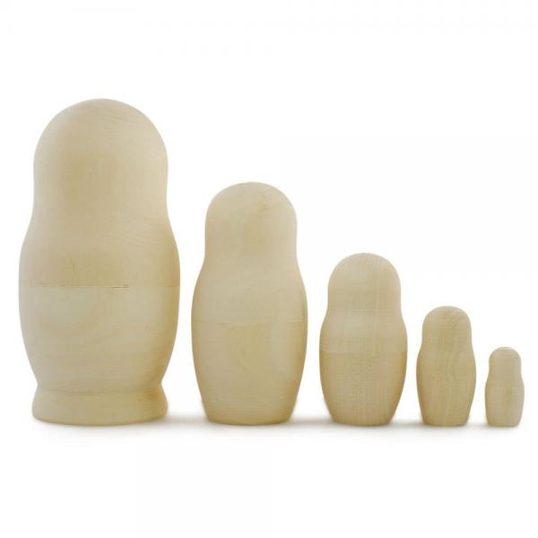Unpainted Blank Wooden Russian Nesting Doll (DIY, Arts and Crafts Gift), 5 pcs, 4.5""