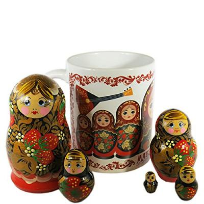 "Gift Set - Russian Nesting Doll Matryoshka (5pcs) with Ceramic Coffee Mug ""Khokhloma"""