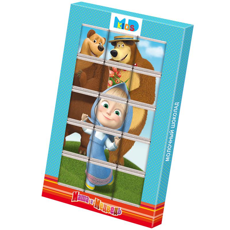 Milk Chocolate Bar Puzzle, Masha & the Bear, Monetny Dvor, 75 g/ 0.17lb