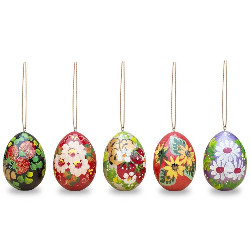 """Easter Gift Flowers Handmade Wooden Eggs, set 6, 2"""""""