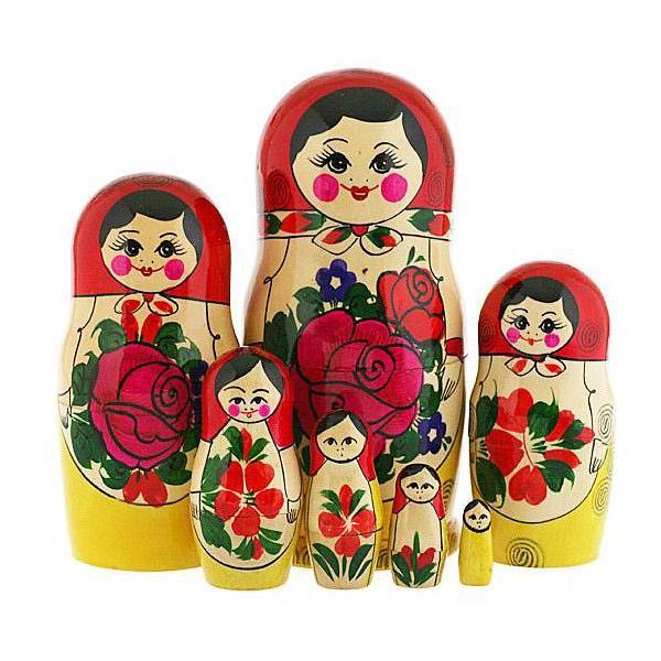 "7 Nested Matreshka Dolls, Classic Design Pink Flower 230mm/9"""