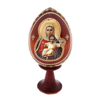 "Easter Gift ""Az Esm"" Russian Icon Wooden Easter Egg, 2.5"" (6 cm)"