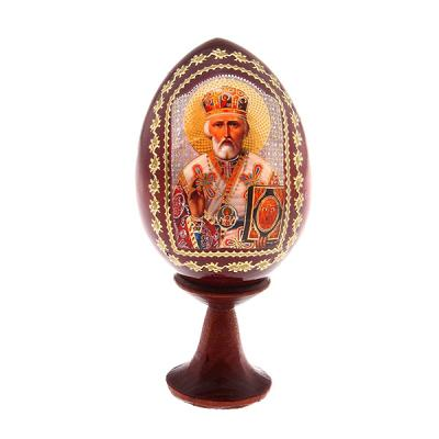"""""""Nikolay the Wonderworker"""" Russian Icon Wooden Miniature Easter Egg, 1.7"""" (4.5 cm)"""