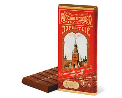 Russian Aerated Milk Chocolate, 3.52 oz / 100 g