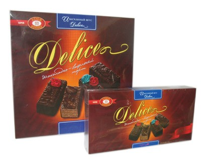 "Chocolate Glazed Wafer Cakes with Praline ""Delice"", 1.1 lb / 500 g"