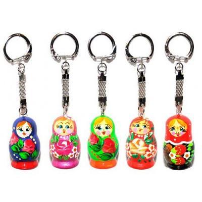 "Nesting Doll (Matryoshka) Keychain Russian Traditional Souvenir, Height - 1.5"""