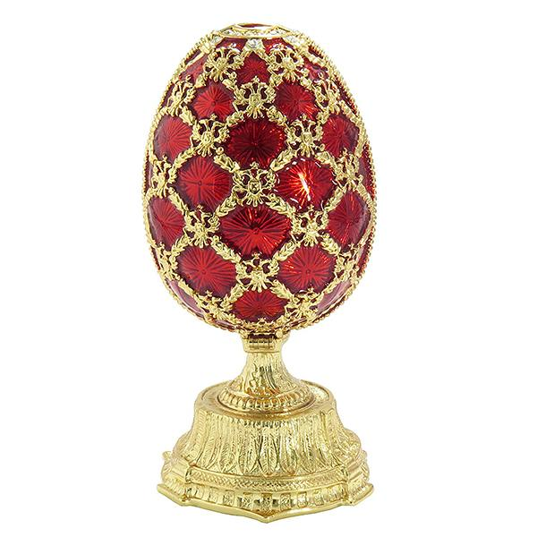 "Russian Style Opening Egg with a Miniature of Saint Basil's Cathedral RED, 2.5"" / 6 cm (JD0869+JF1871)"