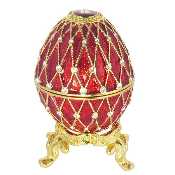 Russian Style Egg Golden Mesh Pattern with Rhinestones (3 rows) RED, 1.5