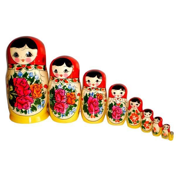 "9 Nested Matreshka Dolls, Classic Design Pink Flower 220mm/8.5"""