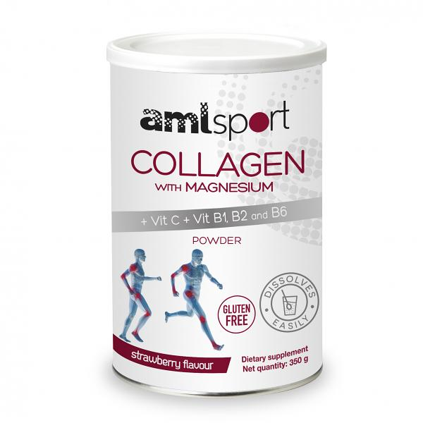 COLLAGEN WITH MAGNESIUM AND VITAMINS C, B1, B2 AND B6, ALM SPORT, STRAWBERRY FLAVOUR | 46 DAYS / 350g