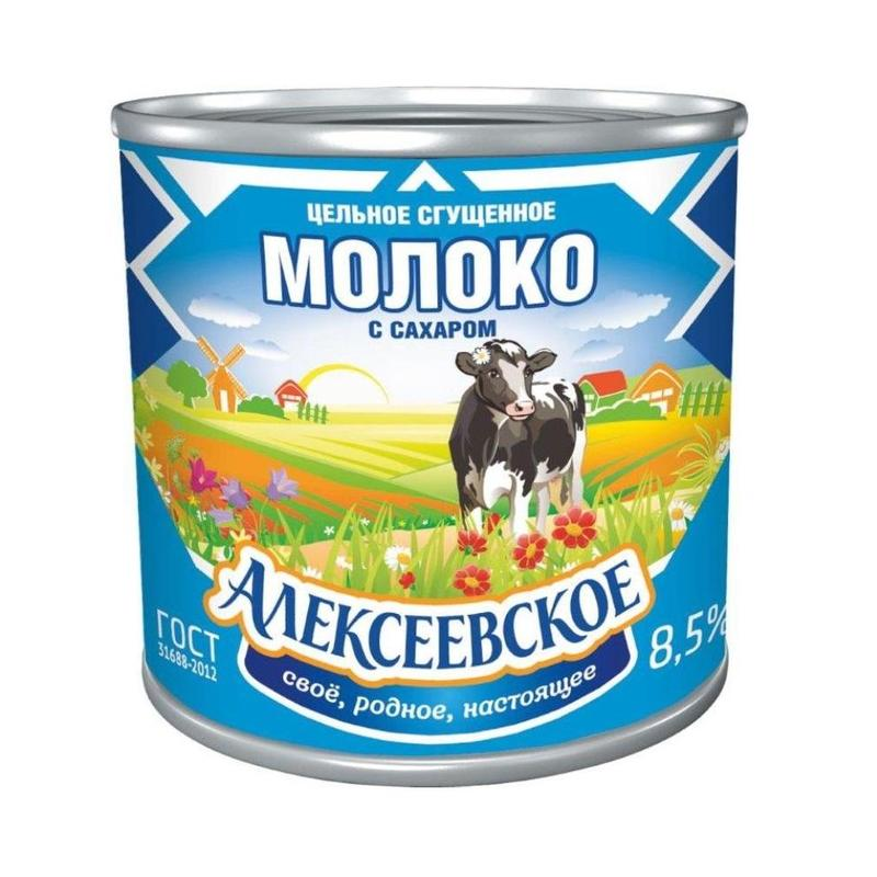 Condensed Milk with Sugar Alekseevskoe Russia 360 g (Can)