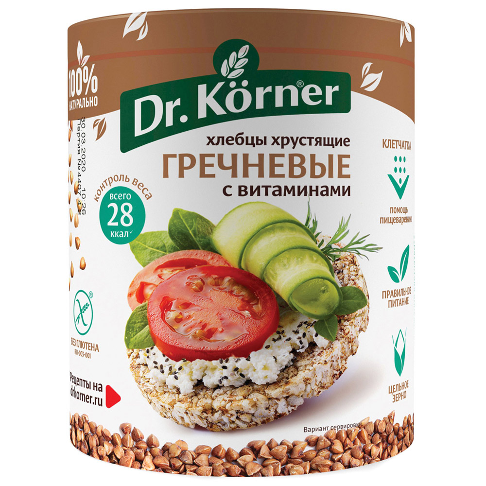 Buckwheat Crispbread with Vitamins, 3.5 oz / 100 g (Dr.Korner)