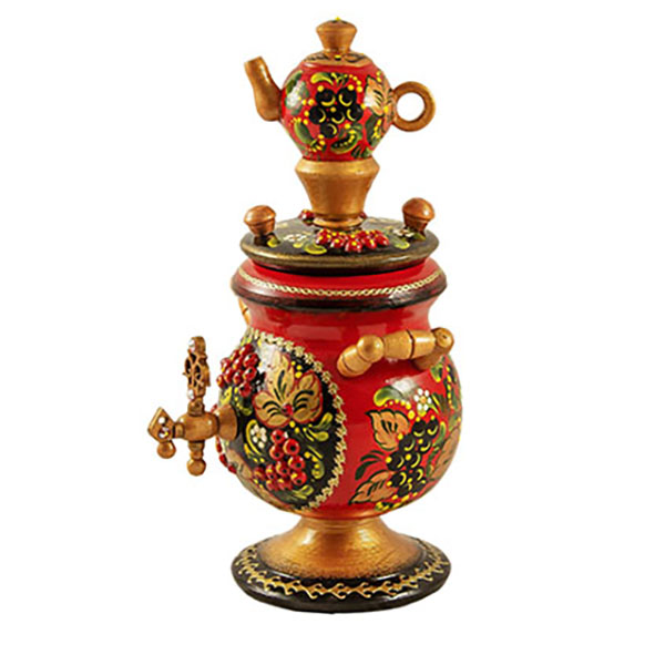 Decorative Handmade Wooden Gorgeous SAMOVAR w/ Natural Organic Flower Honey, 150 g / 5.29 oz