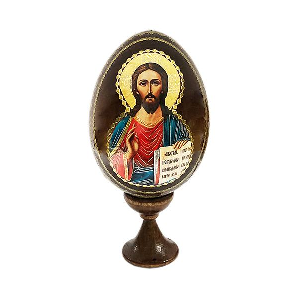 """Easter Gift """"Christ Almighty"""" Russian Icon Wooden Easter Egg, 3.5"""" (9 cm)"""