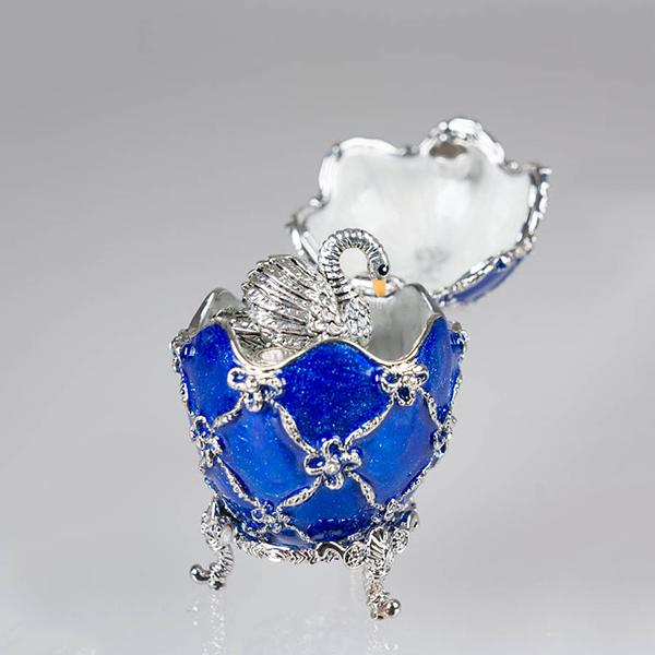 "Russian Style Easter Egg Jewelry Box with a Swan Figurine BLUE, H 2"" (JD1173-3+SF2064)"