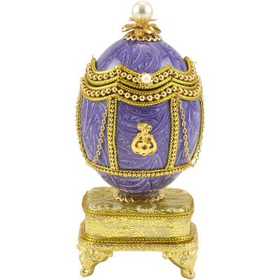 """Russian Style Egg Shell Musical Jewelry Box """"Monogram"""" Purple with Swarovski Crystals"""