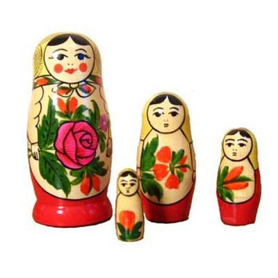 "Traditional Russian Nesting doll ""Semenovskaya"" 4psc."