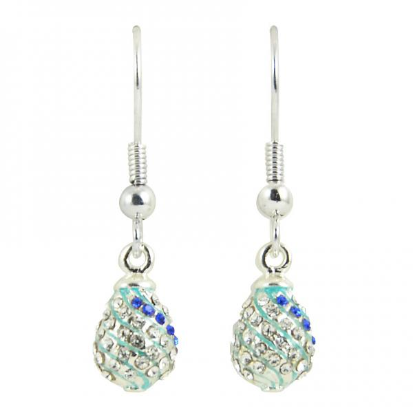 """Russian Style Earrings """"Twisted Pattern with Crystals"""" (blue), 1219-11-07"""