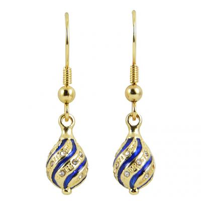 """Russian Style Earrings """"Twisted"""" (dark blue and golden), 1219-45-02"""