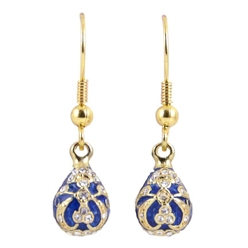 """Russian Style Earrings """"Fantasy"""" (blue and golden), 1219-51-02"""
