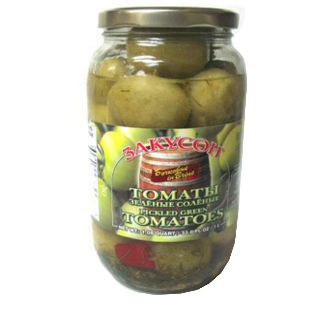 Green Tomatoes in Brine, Zakuson, 33.8 oz/ 1 liter