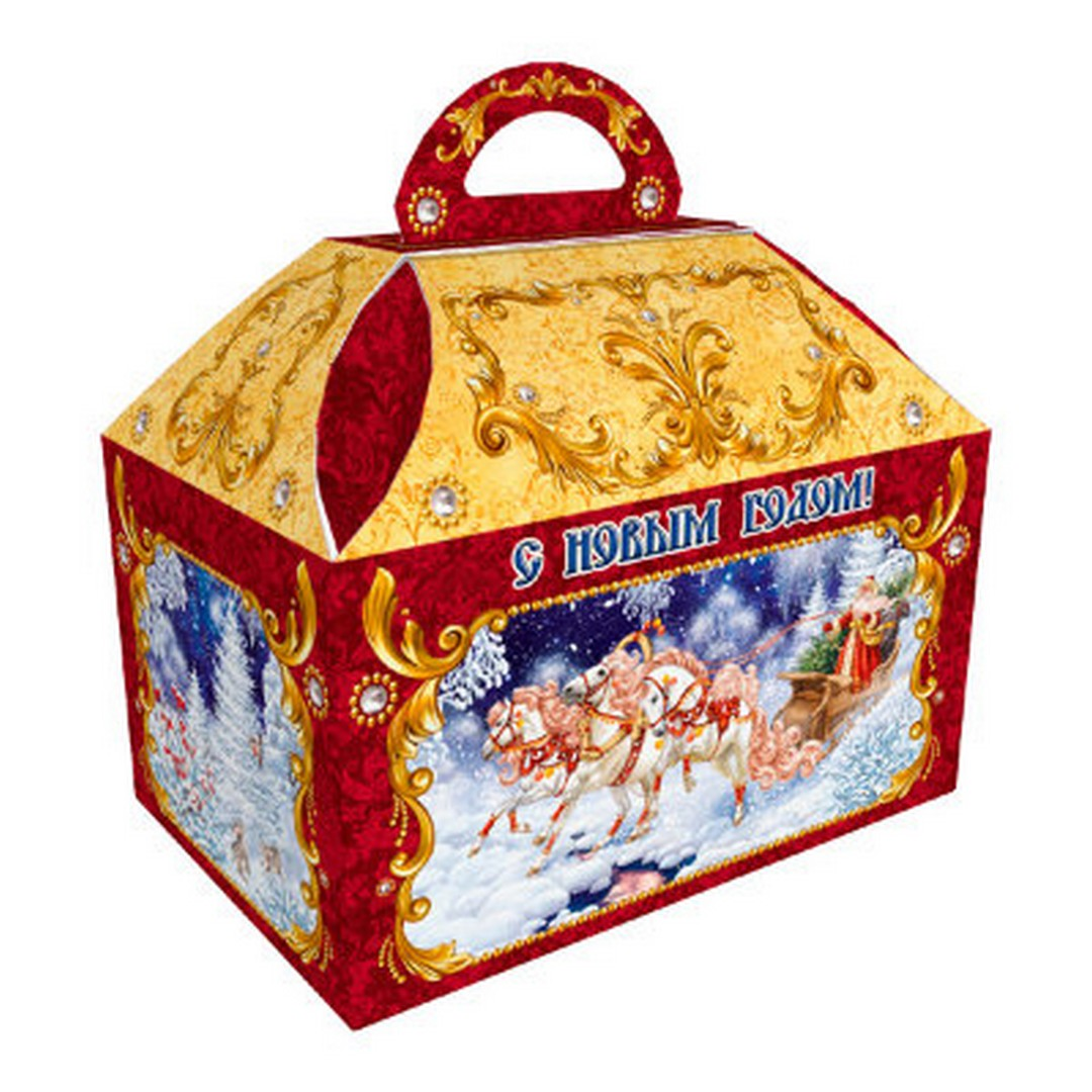 "Assorted chocolate and caramel candies in a New Year cardboard box ""Troika"" Red, 1.5 lb"