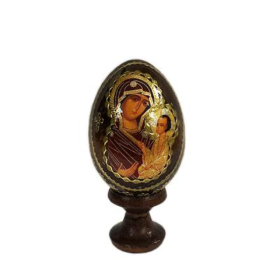 """""""Iversk Holy Mother of God"""" Russian Icon Miniature Wooden Easter Egg (Russian Icon Tradition), 1.7"""" (4.5 cm)"""