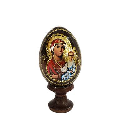 """""""Iversk Holy Mother of God"""" Russian Icon Miniature Wooden Easter Egg (Western Icon Tradition), 1.7"""" (4.5 cm)"""