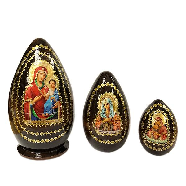 "Easter Gift ""Iversk Holy Mother of God"" Russian Icon Handmade Small Nesting Egg, 5.5"" (15 cm), 3 pcs"