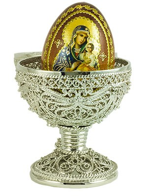 "Easter Gift Russian Style Egg "" Delicate Large "" with Wooden Egg Silver with Swarovski Crystals"