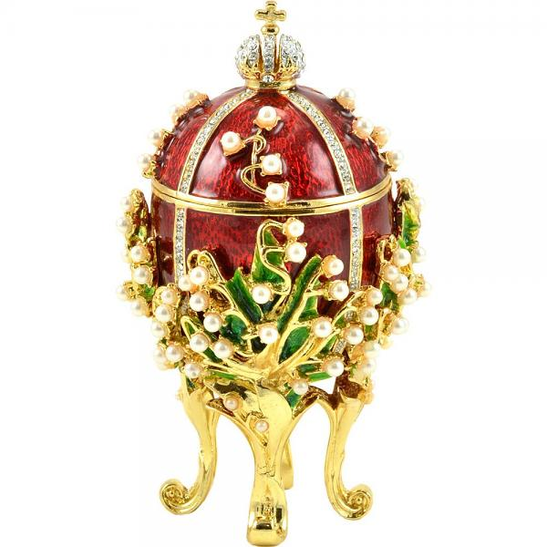 "Russian Style Small Easter Egg ""Lily of the Valley"" with Swarovski Crystals (red), 3.2"" / 8.4 cm (HJD0870)"