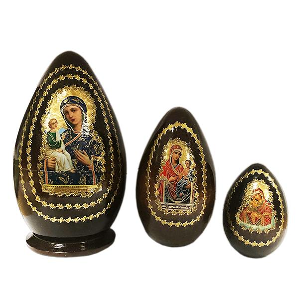 """""""Jerusalem Holy Mother of God"""" Russian Icon Easter Small Nesting Egg, 5.5"""" (15 cm), 3 pcs"""