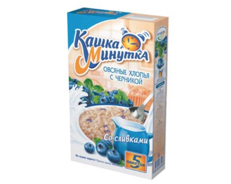 Kashka Minutka Oatmeal with Blueberry, 5 Bags