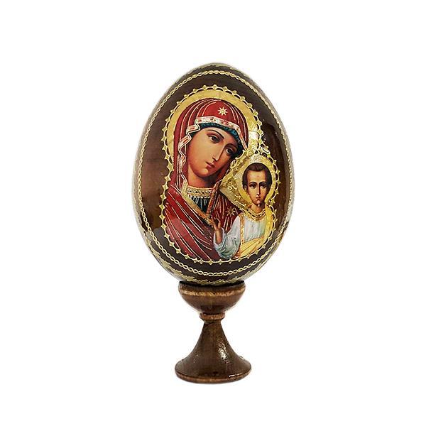 """Kazan Mother of God"" Russian Icon Wooden Easter Egg, 4"" (10 cm)"