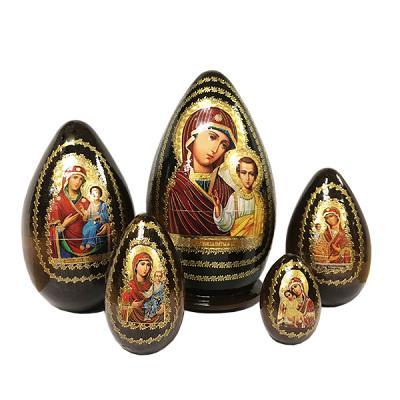 """""""Kazan Holy Mother of God"""" Russian Icon Easter Nesting Egg, 7"""" (19 cm), 5 pcs"""